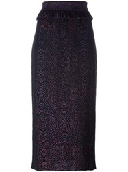 Lanvin Spiral Design Midi Skirt Black
