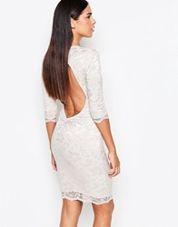 Honor Gold 3 4 Sleeve Lace Bodycon Dress With Cut Out Back Nude Beige