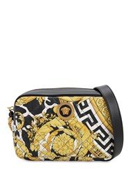 Versace Logo Print Quilted Leather Camera Bag Nero