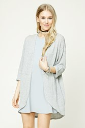 Forever 21 Marled Open Front Cardigan Grey White