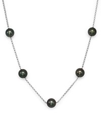 Bloomingdale's Cultured Tahitian Black Pearl Tin Cup Necklace In 14K White Gold 18 Black White
