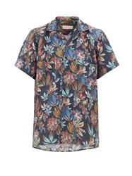 Etro Camp Collar Floral Print Linen Shirt Navy Multi