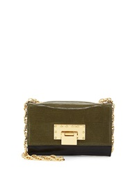 Badgley Mischka Justine Mini Leather Snakeskin Crossbody Bag Hunter Black