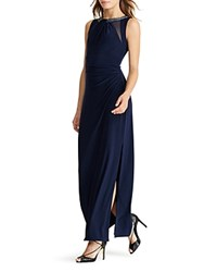 Ralph Lauren Embellished Gown Lighthouse Navy