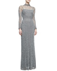 Jenny Packham Open Back Long Sleeve Beaded Gown Turtle Dove Gray