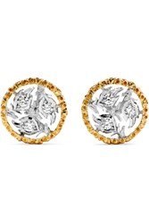 Buccellati Ramage 18 Karat Yellow And White Gold Diamond Earrings One Size