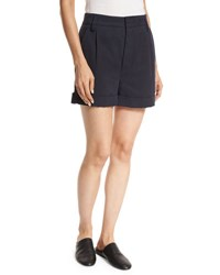 Vince Slouchy Rolled Cuff Linen Blend Shorts Navy