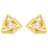Ibb 9Ct Yellow Gold Cubic Zirconia Triple Square Stud Earrings Yellow Gold
