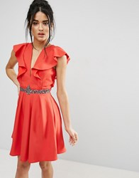 Little Mistress Mini Skater Dress With Plunge And Flutter Sleeve Red