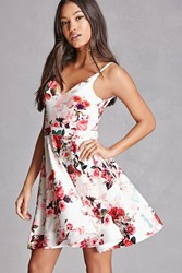 Forever 21 Floral Scuba Knit Cami Dress Pink