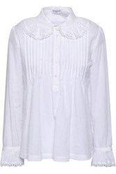 Claudie Pierlot Pintucked Cotton Shirt Off White Off White