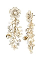 Miriam Haskell Vintage Pearl White Flower Crystal And Faux Pearl Front Back Earrings