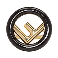 Gold And Black 'F Is Fendi' Ring