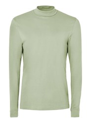 Topman Light Green Mini Roll Neck Long Sleeve T Shirt