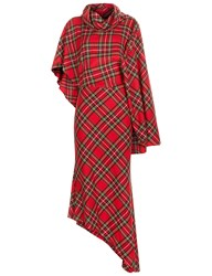 A.W.A.K.E. Red Tartan One Sleeve Dress