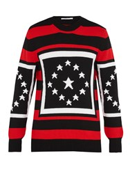 Givenchy Star Intarsia Striped Wool Sweater Red Multi