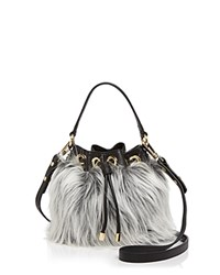 Milly Small Faux Fur Drawstring Bucket Bag Black White Gold