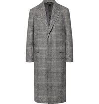 Dunhill Prince Of Wales Checked Wool And Cashmere Blend Coat Black