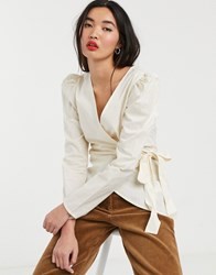 Soaked In Luxury Puff Sleeve Wrap Blouse Cream