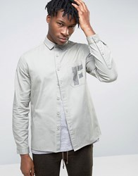 Asos Regular Fit Military Shirt With Hand Drawn Print Green