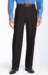 Men's Big And Tall Ballin Double Reverse Pleated Wool Twill Trousers Brown
