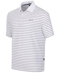 Greg Norman For Tasso Elba 5 Iron Performance Striped Golf Polo Bright White