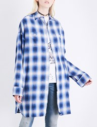 R 13 Axl Checked Cotton Shirt Blue Plaid