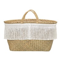 Bloomingville Seagrass Woven Basket With Fringe White Nature