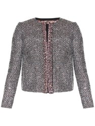 Giambattista Valli Crystal Embellished Tweed Jacket Silver Multi
