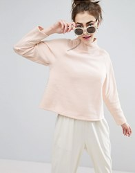 Monki Zip Funnel Neck Sweatshirt Sweater Pink
