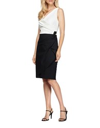 Alex Evenings Petite Colorblock Ruched Slim Fit Dress Black White