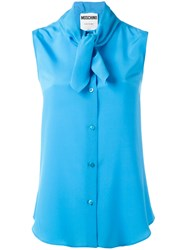 Moschino Tie Neck Blouse Blue