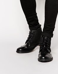 Original Penguin Leather Brogue Boot Black