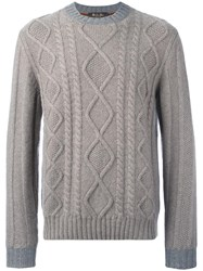 Loro Piana Diamond Cable Knit Jumper Grey