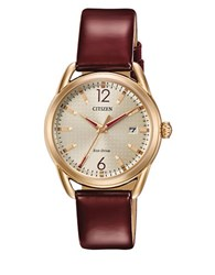 Citizen Drive Rose Goldtone Stainless Steel And Leather Strap Watch Fe6083 05P Brown