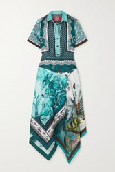 F.R.S For Restless Sleepers Concordia Asymmetric Printed Silk Twill Shirt Dress Turquoise