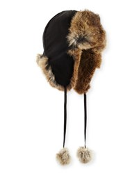 Adrienne Landau Rabbit Fur Trapper Hat Brown