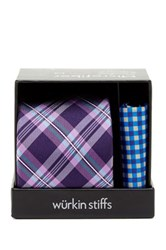 Wurkin Stiffs Plaid Tie And Pocket Square Set Purple