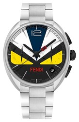 Men's Fendi 'Momento Bug' Chronograph Bracelet Watch 40Mm Silver