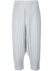Homme Plisse Issey Miyake Pleated Cropped Trousers Grey