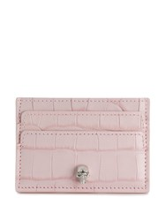 Alexander Mcqueen Crocodile Embossed Card Holder Pink