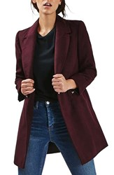 Topshop Women's 'Meg' Zip Pocket Coat Burgundy