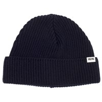 Wood Wood Navy Eugene Ribbed Beanie Blue
