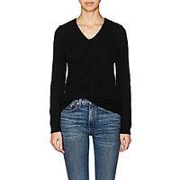 Barneys New York Cable Knit Wool Cashmere Sweater Black