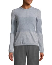 Piazza Sempione Crewneck Long Sleeve Striped Wool Cashmere Sweater Gray