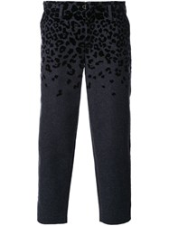 Kolor Animal Print Cropped Tapered Trousers Grey