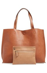 Street Level Junior Women's Reversible Faux Leather Tote And Wristlet Brown Cognac