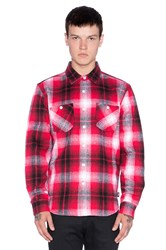 Stussy Heavy Brushed Flannel Button Up Red