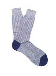 Pantherella Hamada Ribbed Knit Socks Indigo