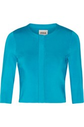 Issa Mills Metallic Stretch Knit Jacket Turquoise